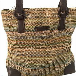 Multi Color Woven Tote Shoulder Bag Tan Brown